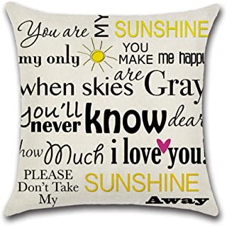 """YANGYULU Quote Words Cotton Linen Home Decorative Throw Pillow Case Sofa Cushion Cover 18"""" x 18"""" (You are My Sunshine I Lo..."""