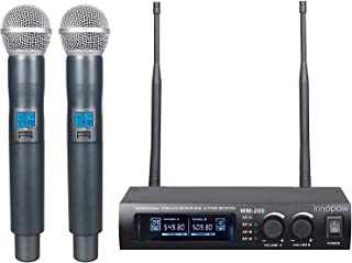 innopow Metal Dual UHF Wireless Microphone System,inp Metal Cordless Mic Set, Long Distance 150-200Ft,16 Hours Continuous Use for Family Party,Church,Small Karaoke Night