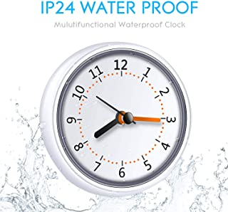 LXSZRPH Mini Shower Clock Waterproof IP24 Wall Clock Suction Cup Bathroom Clock Acrylic Face Suction Clock for Shower Washroom Kitchen (1pack)