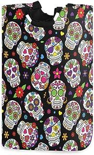 Mexique Sugar Skull Dead Of The Day Dia de Los Muertos Porte-panier à linge étanche, grand panier de sac à linge pliable p...