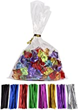 MoloTAR || 100 Pcs 10 in x 6 in(1.4mil.) Clear Flat Cello Cellophane Treat Bags Good for Bakery, Cookies, Candies,Dessert with one random color Twist Ties, 6