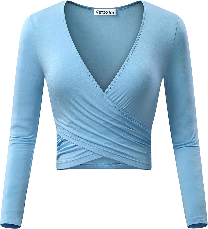 KIRA Women's Deep V Neck Long Sleeve Unique Cross Wrap Slim Fit Crop Tops (Medium, Light bluee)