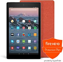 Fire HD 10 Protection Bundle with Fire HD 10 Tablet (32 GB, Black), Amazon Cover (Punch Red) and Protection Plan (1-Year)