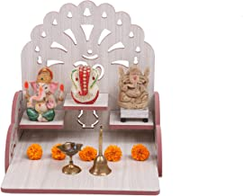 NEXAT Art Wooden Wall Hanging Temple for Home and Shop ,Office and Home showpiece Temple (Size:28 X 26 X 28 inch) (White C...