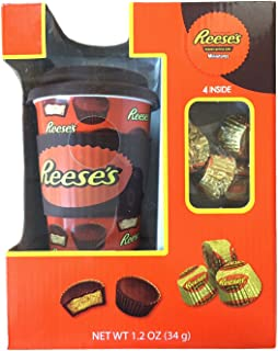 Hershey's Ceramic Travel Mug w/ Silicone Band, Lid & Candy (Reese's)
