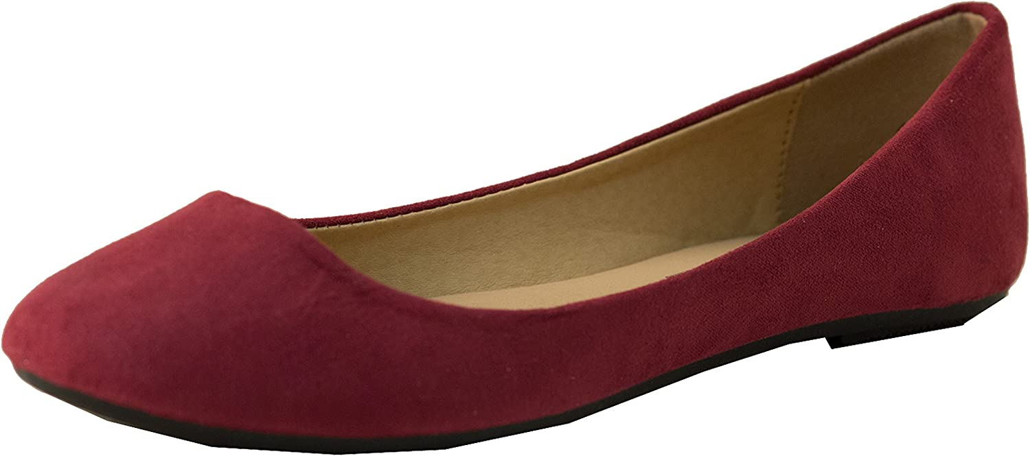 Easy USA Women's Micro Suede Ballet Flats,10 B(M) US,Maroon