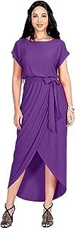 KOH KOH Womens Short Sleeves Round Neck Solid Draped Asymmetrical Maxi Dress