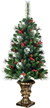 1.2M Artificial Christmas Tree, Premium Artificial Tree w/Pinecones Berries PVC Glittered Branches, Sliver Bristle Spruce ...
