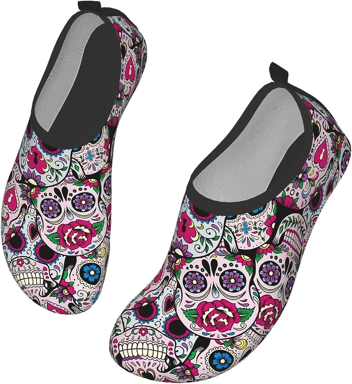 Sugar Skull Pattern Men's Women's Water Shoes Barefoot Quick Dry Slip-on Aqua Socks for Yoga Beach Sports Swim Surf 5.5-6.5 Women/4.5-5.5 Men