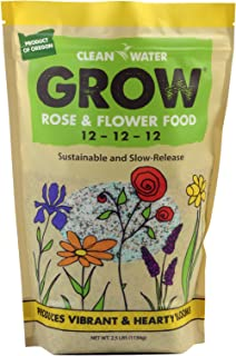 Clean Water Grow Rose & Flower Food 2.5 lb. Slow Release Natural Environmentally Friendly Fertilizer 12-12-12 NPK High Nutrient Content