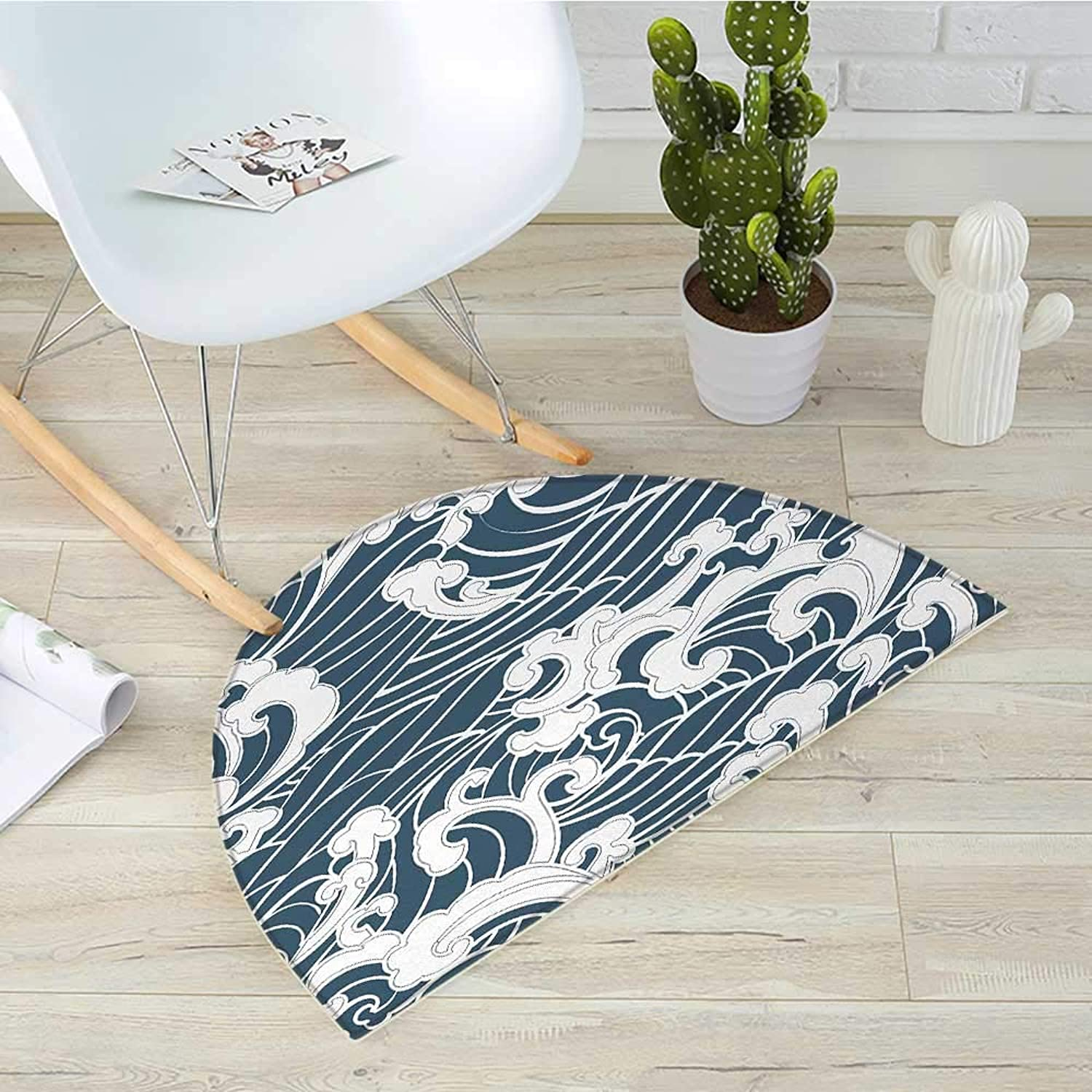 Japanese Wave Half Round Door mats Hand Drawn Traditional Style Aquatic Doodle River Storm Retro Abstract Bathroom Mat H 43.3  xD 64.9  Slate bluee White