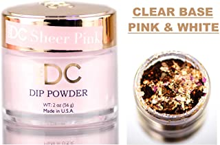 DND DC Pink & White CLEAR BASE Natural DIP POWDER for Nails, Daisy Dipping (with bonus side Glitter) Made in USA (SHEER PINK)