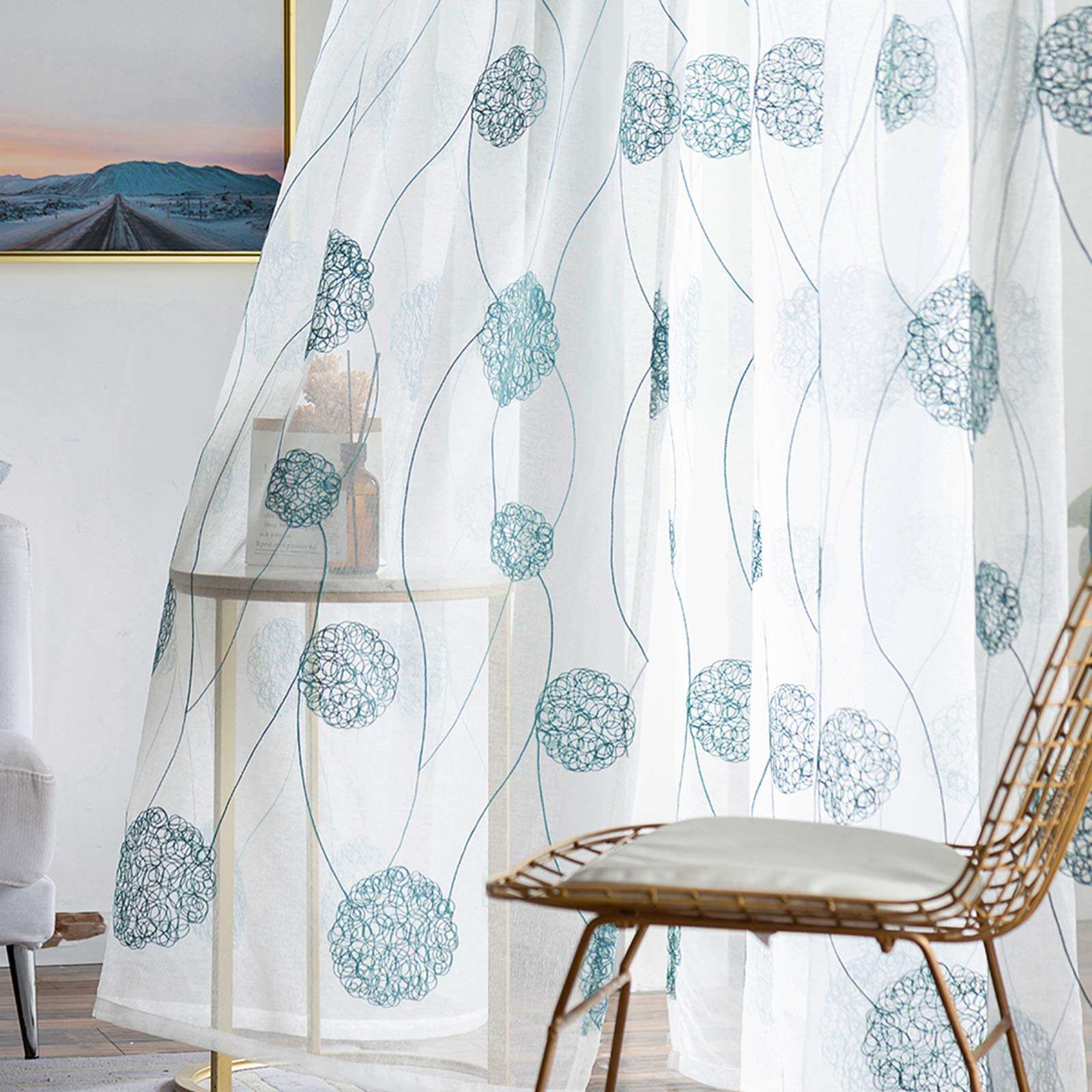 Amazon Com Mrtrees Floral Embroidered Sheer Curtains 63 Inch Length Bedroom Flower Embroidery Semi Curtain Sheers Bedroom Rod Pocket Window Treatment Set Voile Curtain Panels Aqua Blue On White 2 Panels Kitchen