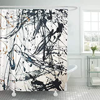 Emvency Shower Curtain Waterproof Polyester Fabric 72 x 78 inches Red Modern Abstract Creative Hand Watercolor Pollock Jackson Contemporary Graphic Set with Hooks Decorative Bathroom
