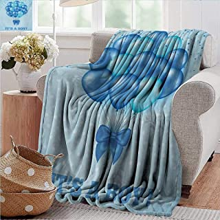 XavieraDoherty Outdoor Blanket,Gender Reveal,Balloons on The Nostalgic Polka Dots Backdrop Childbirth Celebration Theme,Sky Blue,300GSM,Super Soft and Warm,Durable Throw Blanket 60