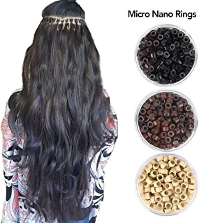 Beauty On Line 200Pcs Beads Silicone Aluminium Micro Nano Rings 3mm Lined For I Tip/Nano Hair Extensions Tool Beads (Black)