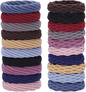 Seamless Hair Ties Soft Cotton Hair Bands No Crease Elastic Ponytail Holders Thick Stretch Hair Rope for Women Ladies (20 ...