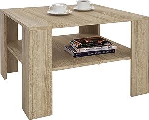 IDIMEX Table Basse SEJOUR, Table de Salon de Forme carrée avec 1 étagère Espace de Rangement Ouvert, en mélaminé décor chêne Sonoma