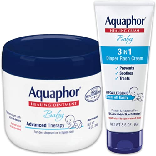 Aquaphor Baby Skin Care Set - Includes 14 Oz. Jar of Advanced Healing Ointment & 3.5 Oz Tube of Diaper Rash Cream, 2 ...