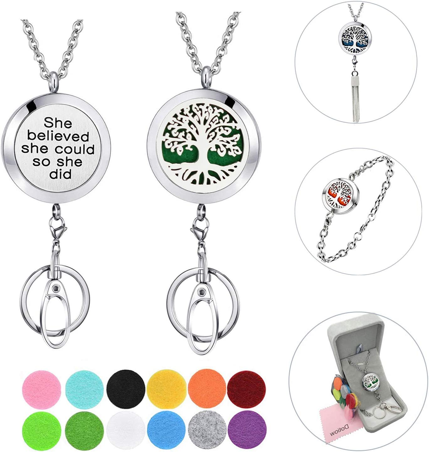 Dotiow 3 in 1 Diffuser Lanyard Bracelet Necklace SEAL limited Miami Mall product ID Clip Holder