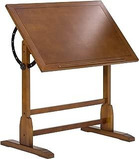 Studio Designs Vintage Rustic Oak Drafting Table, Top Adjustable Drafting Table Craft Table Drawing Desk Hobby Table Writing Desk Studio Desk, 36''W x 24''D
