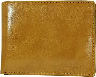 Leonardi Men's Solid Mustard Vegan Leather Two Fold Wallet