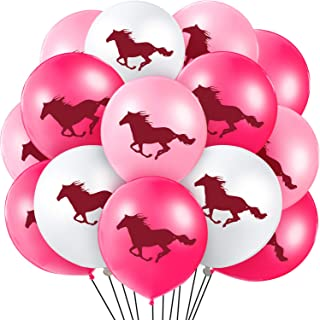 60 Pieces Horse Latex Balloons Cowgirl Balloons Horse Themed Balloon Decorations for Baby Shower Cowboy Party Favor, 12 Inches