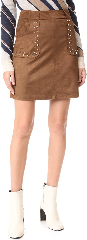 BB Dakota by Steve Madden Women's Cain Studded Faux Suede Skirt, Antelope, 6