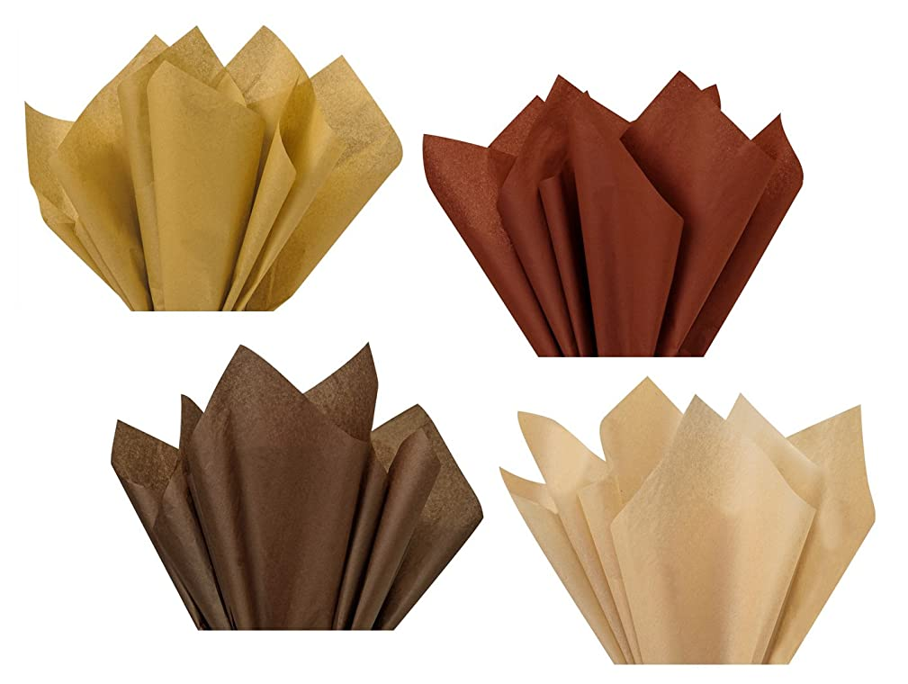 Coffee Chocolate Mocha Tan Dark Light Brown Assorted Mixed Color Multi-Pack Tissue Paper for Flower Pom Poms Art Craft Party Gift Bag Basket Filler
