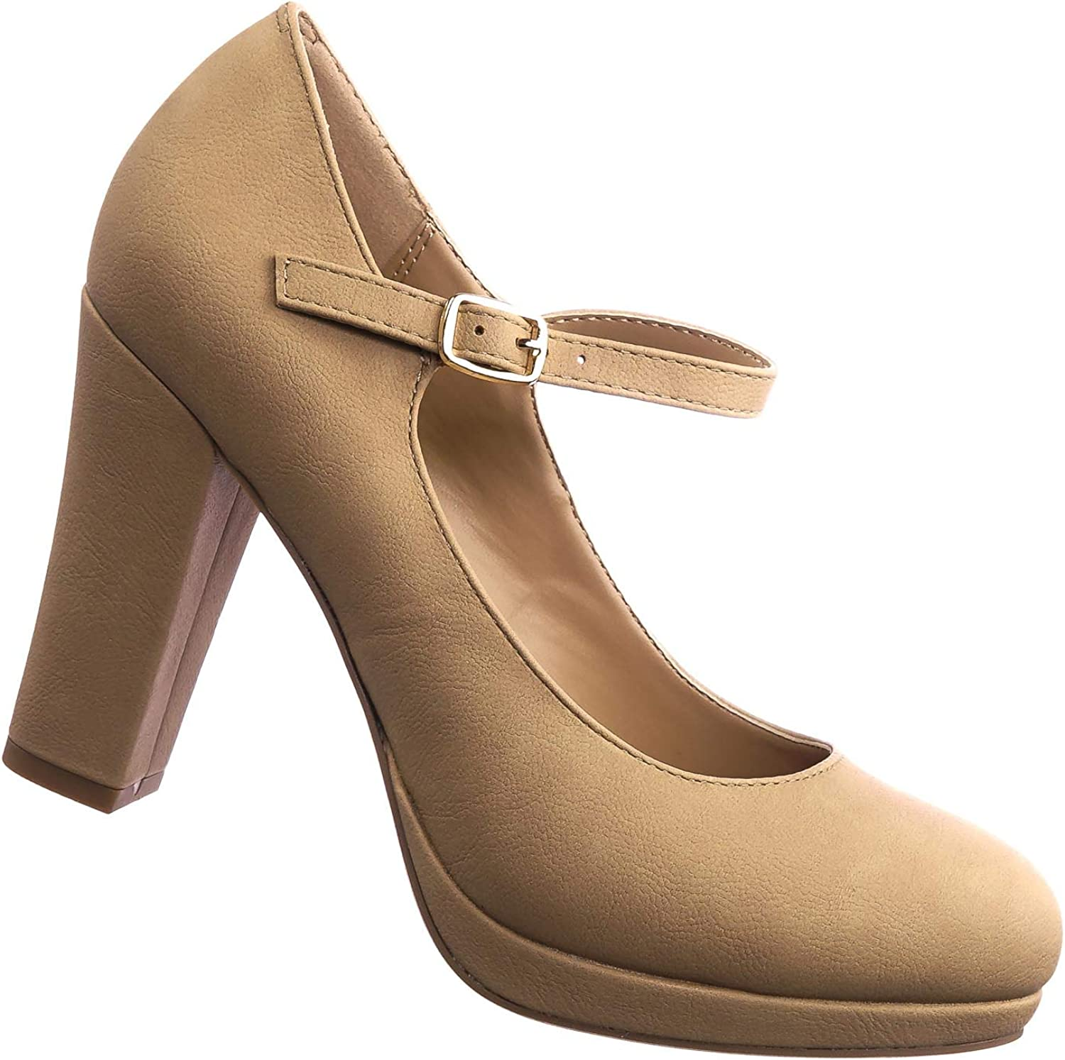 City Classified Comfort Comfy Foam Padded Vintage Chunky Block High Heel Mary Jane Pump Natural Beige