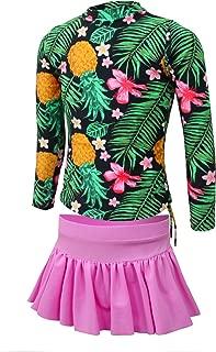 Girls' Pineapple Long Sleeve Rash Guard 2-Piece Swimsuit Set 4Y-15Y (FBA)