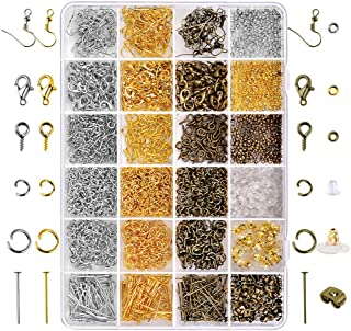 Paxcoo 2880 Pcs Jewelry Making Findings Supplies Kit with Open Jump Rings Lobster Clasps Crimp Beads Screw Eye Pins Head P...