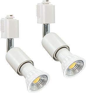Abishion ライティングバ 用スポットライト、電球付き、5.5W E26口金 昼光色6000K、50-60W形相当LEDスポットライト、調光不可 90度配光 、ライティングレール 、白い 2個セット.
