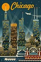 Chicago, Illinois - Retro Skyline (16x24 Giclee Gallery Print, Wall Decor Travel Poster)
