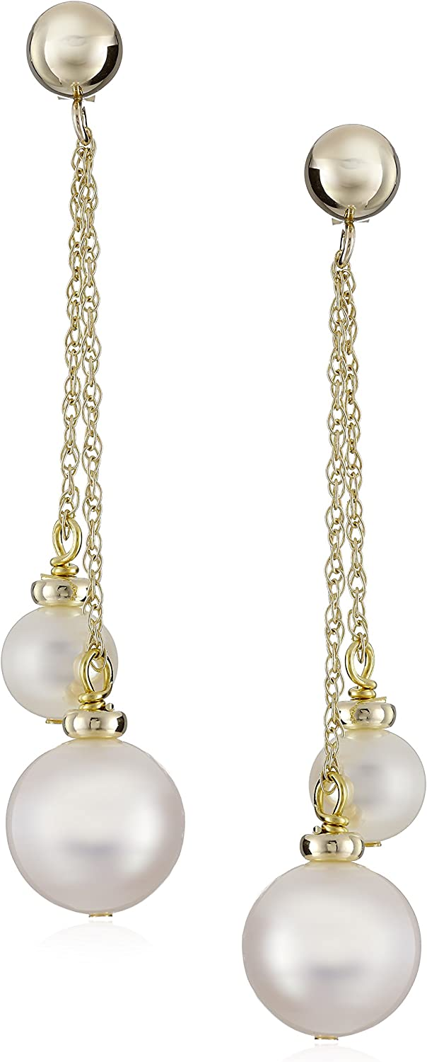 14k Yellow Gold White Cultured Freshwater Pearl Dangle Earrings (5.5-6mm and 9-10mm)
