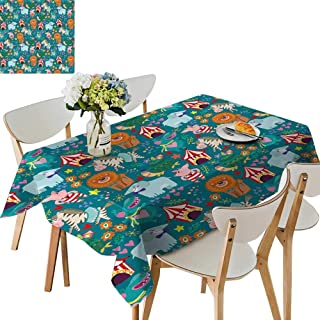 UHOO2018 Square/Rectangle Indoor and Outdoor Tablecloth Wonderful Circus imals Restaurant Party,54 x125inch.