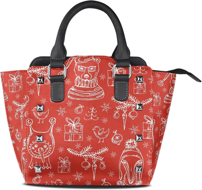 My Little Nest Women's Top Handle Satchel Handbag Christmas Decorations Funny Bear Fox and Snowman Ladies PU Leather Shoulder Bag Crossbody Bag