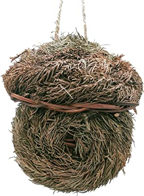 LWINGFLYER 2pcs Grass Bird House for Outside Hanging Bird Hut Woven Nest Cozy Resting Place for Birds 5.51inch/14cm