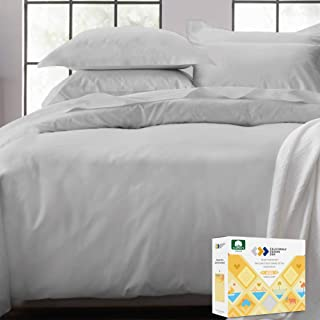 Cotton Duvet Cover King Size - 400 Thread Count 3 Piece Bedding Set, Smooth Sateen Weave, Light Grey 100% Comforter Cover ...