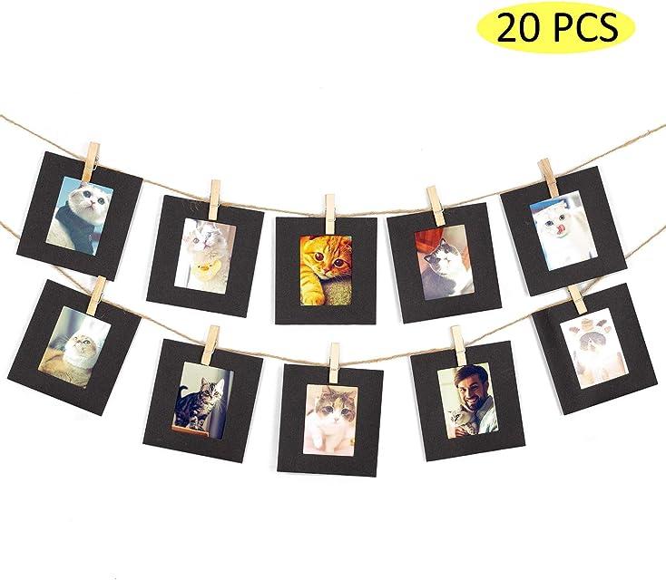 Amimy 20 PC Marco de Fotos Papel Fijar para Fujifilm Instax Mini 7s 8 8+ 9 25 50 70 90 Polaroid Snap PIC-300 HP Piñón Kodak Mini 3 Pulgadas Film (Negro)