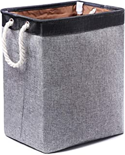 JYHJ Laundry Hamper with Handles Hampers for Laundry Foldable Fabric Laundry Basket Built-in Lining with Detachable Brackets for Bathroom Clothing Washing Storage, Grey