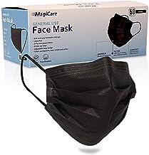 MagiCare Black Disposable Face Masks - Comfortable, Breathable, Soft - Premium 3 Ply Face Mask - Black Face Masks (1 Box, ...