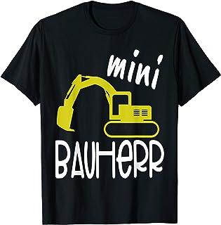 Hausbau & Richtfest Outfit Mini Bauherr I Bagger I Lustiges Kinder Baustellen T-Shirt