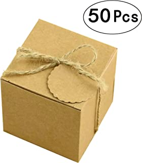 Kraft Paper Cube Favor Box Kit Candy Thank You Treat Rustic Gift Boxes Set with Twine for Wedding Favors Baby Shower Birthday Party Supplies, 50pc