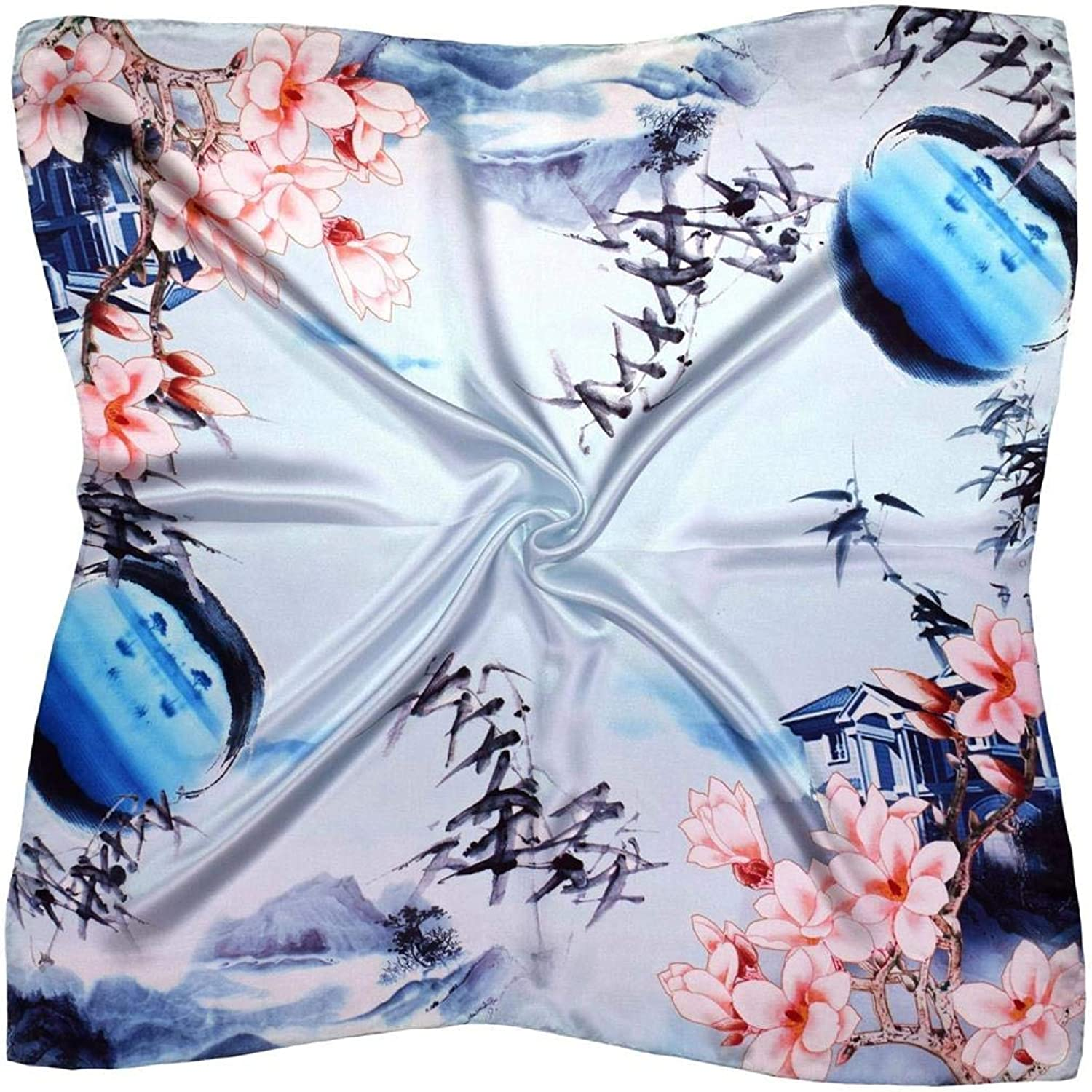 bluee Pink House Thick Silk Square Scarf