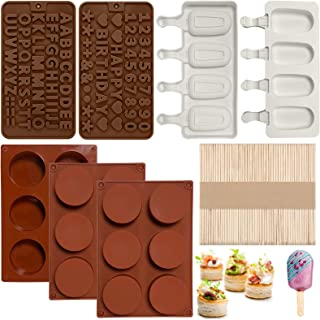 Chocolate Silicone Mold Set for Kids, 3Pcs Round Cylinder Candy Mold 2Pcs Popsicle Molds Letter Mold and Number Chocolate ...
