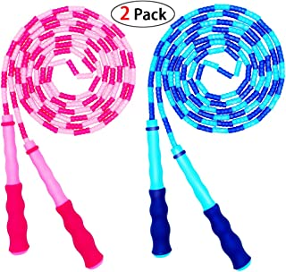 Soft Beaded Jump Rope, Adjustable Tangle – Free Segmented Fitness Skipping Rope for..