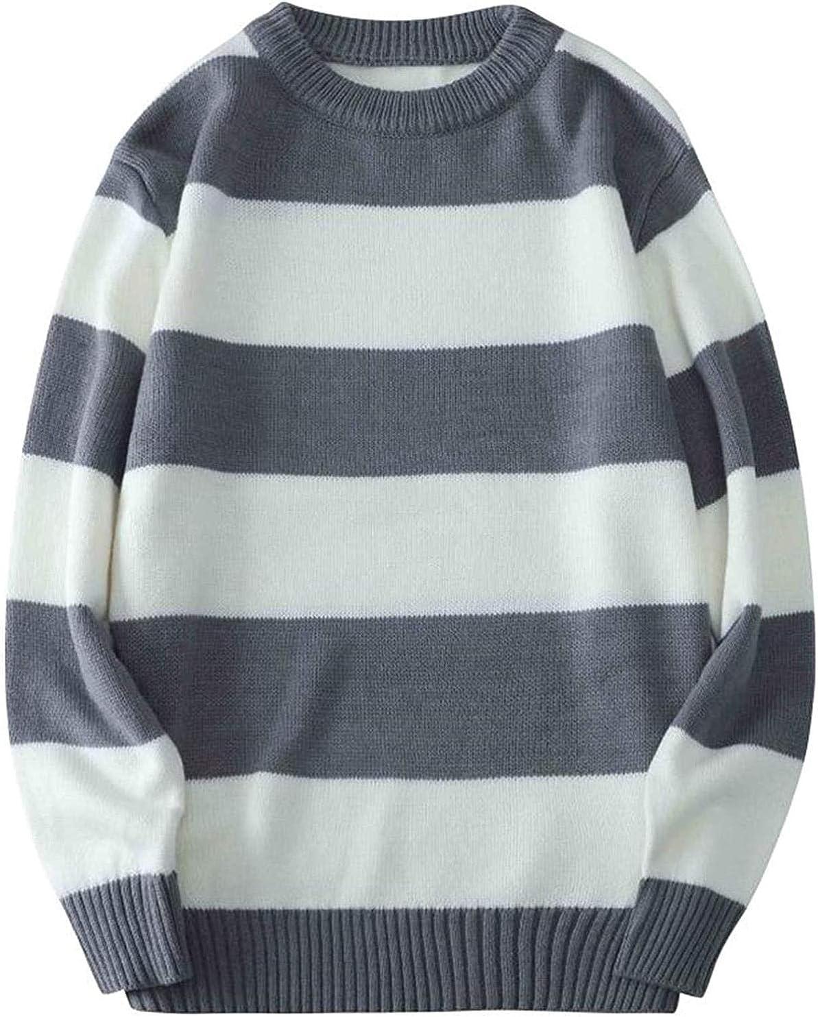 specialty shop Nanoki Ranking TOP1 Men's Sweater Stripe Pullovers Striped Ju Men Sleeve Long