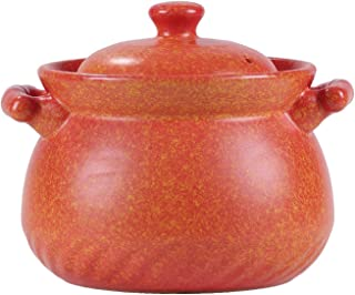Chinese Casserole Clay Pot for Cooking, Gas Stove Ceramic Stew Cookware Suppererine with Lid,Orange,20
