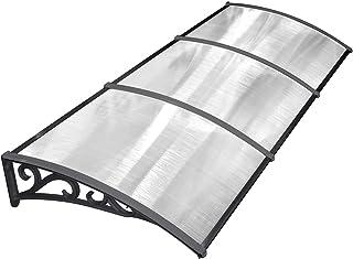 MVPOWER Marquesina para Puertas y Ventanas Tejadillo de Protección Toldo Cubierta de Policarbonato en Jardín al Aire Libre Dosel de Techo (Color Negro, 270*98.5cm)